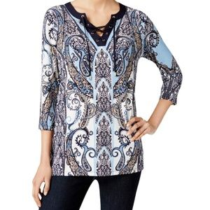 Charter Club Paisley Print Lace-Up Blouse